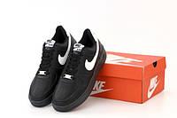 """Кроссовки мужские кожаные Nike Air Force """"Черные"""" р. 41-45, фото 1"""