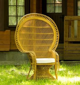 Плетене крісло Cruzo Мавліна з натурального ротанга з великою спинкою