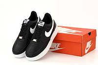 """Кроссовки мужские кожаные Nike Air Force """"Черные"""" р. 41-44, фото 1"""