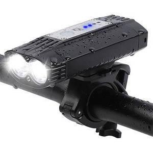 Велосипедний ліхтар HJ-059-2T6+SMD, Waterproof, ЗУ micro USB, (Оригінал)