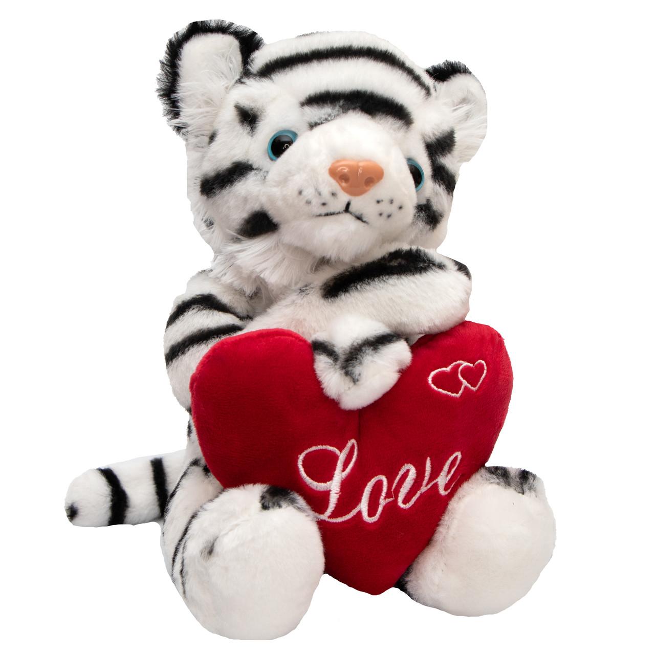 М'яка іграшка - тигреня з серцем, 22 см, білий, плюш (395773)