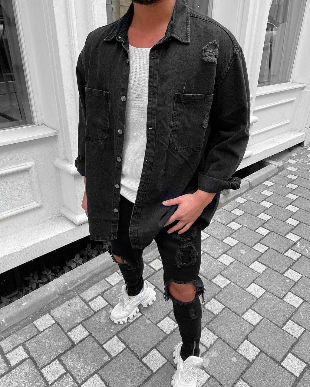 😜Сорочка чоловіча джинсова байкова / чоловіча джинсова сорочка в чорному кольорі