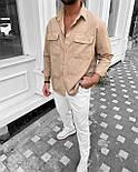 😜Сорочка чоловіча сорочка оверсайз їх бавовни / чоловіча сорочка оверсайз бежева, фото 2