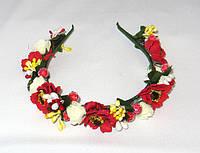 Обруч веночек ручной работы с маками и белыми розами (желтые ягодки)