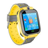 Детские смарт-часы G2 с сенсорным экраном камерой GPS+SIM желто-серые