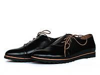 Черные кожаные туфли с боковой шнуровкой