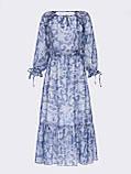 Шифонова сукня-міді з принтом і воланом по низу синє, фото 5