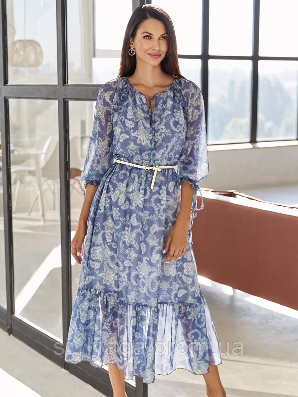 Шифонова сукня-міді з принтом і воланом по низу синє