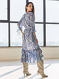 Шифонова сукня-міді з принтом і воланом по низу синє, фото 4