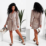Темно-серый женский велюровый халат 15-772-4, фото 5