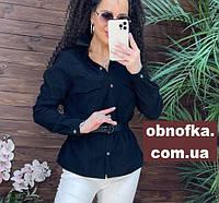 Рубашка женская, однотонная, микро-вельвет черный, размер 42-48, фото 1