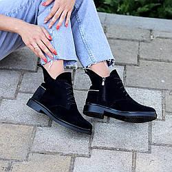Дизайнерские черные замшевые женские ботинки натуральная замша низкий ход