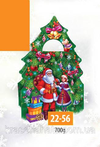 Коробка новогодняя, Елка, 700 грамм, Картонная упаковка для конфет
