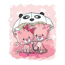 Детская Картина по Номерам Розовые котики под зонтиком 30х40 см Strateg