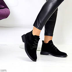 Стильные черные замшевые женские ботинки натуральная замша производство Украина