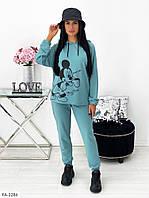 Стильный молодежный спортивный костюм женский с удлиненной кофтой-туникой с принтом р-ры 42-48 арт. 1417, фото 1