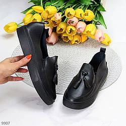 Актуальные черные кожаные женские туфли мокасины натуральная кожа