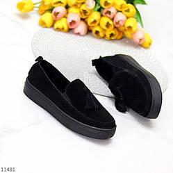 Актуальные черные замшевые женские туфли мокасины натуральная замша