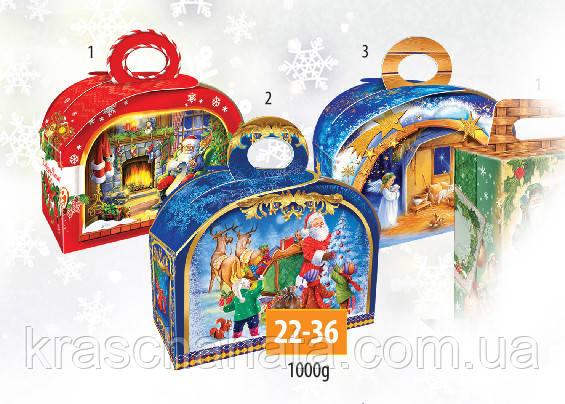 Новогодняя коробка, Сундук с ручкой, красный, 1000 гр, Картонная упаковка для конфет