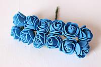 Розочки 2.-2.-2.5 см из латекса (фоамирана) 144 шт/уп на стебле синего цвета оптом