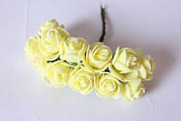 """Розочки 2.-2.-2.5 см из латекса (фоамирана) 144 шт/уп на стебле цвета """"ваниль"""" оптом"""