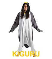 Костюм пингвина кигуруми серый с белым