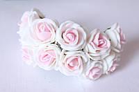Розочки 2 2.2 - 2.5 см из латекса (фоамирана) 144 шт/уп на стебле белый + нежно-розовый оптом