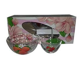 Набір салатників скляних 1/5(1*800мл4*200мл) Полуниця ТМ ОСБ