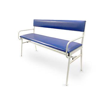 Банкетка медична двомісна зі спинкою та поручнями МБс-2