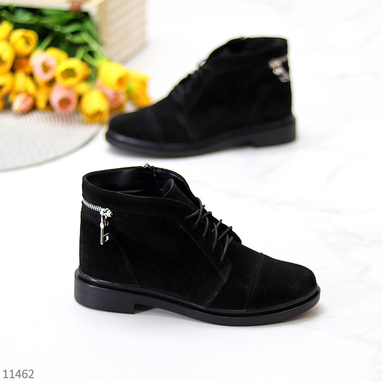 Удобные повседневные черные замшевые женские ботинки натуральная замша