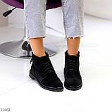 Удобные повседневные черные замшевые женские ботинки натуральная замша, фото 3