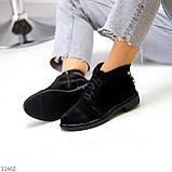 Удобные повседневные черные замшевые женские ботинки натуральная замша, фото 4