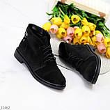 Удобные повседневные черные замшевые женские ботинки натуральная замша, фото 6