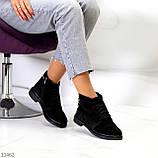 Удобные повседневные черные замшевые женские ботинки натуральная замша, фото 7