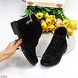 Удобные повседневные черные замшевые женские ботинки натуральная замша, фото 9