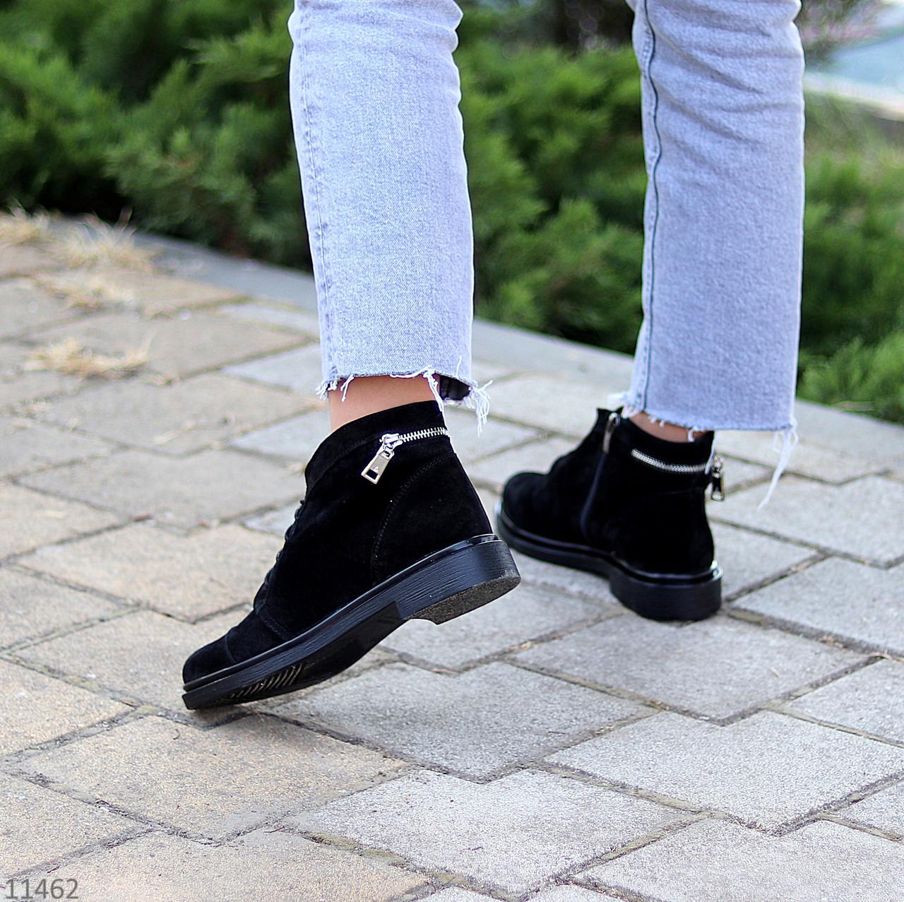 Зручні повсякденні жіночі чорні замшеві черевики натуральна замша