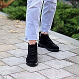Зручні повсякденні жіночі чорні замшеві черевики натуральна замша, фото 2