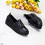 Актуальні чорні шкіряні жіночі туфлі мокасини натуральна шкіра 38-24,5 см, фото 2