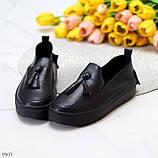 Актуальні чорні шкіряні жіночі туфлі мокасини натуральна шкіра 38-24,5 см, фото 3
