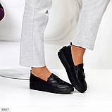 Актуальні чорні шкіряні жіночі туфлі мокасини натуральна шкіра 38-24,5 см, фото 4