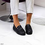 Актуальні чорні шкіряні жіночі туфлі мокасини натуральна шкіра 38-24,5 см, фото 6