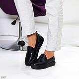 Актуальні чорні шкіряні жіночі туфлі мокасини натуральна шкіра 38-24,5 см, фото 8