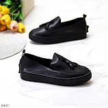 Актуальні чорні шкіряні жіночі туфлі мокасини натуральна шкіра 38-24,5 см, фото 10