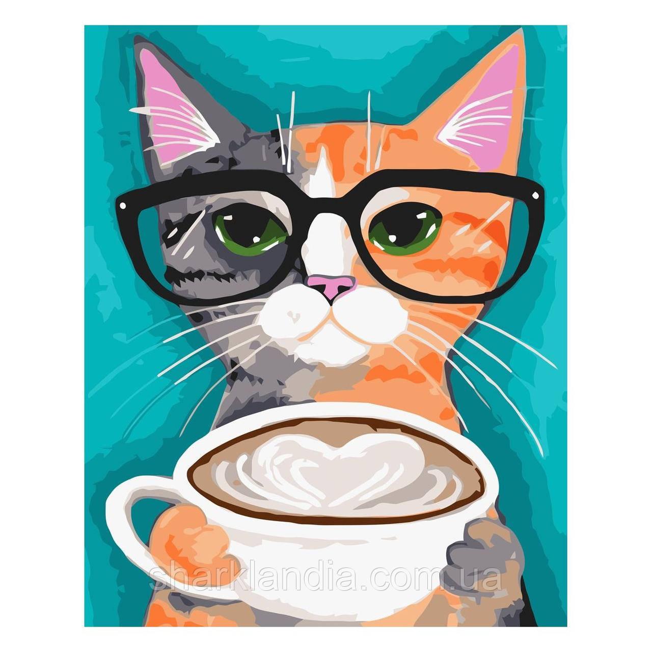Детская Картина по Номерам Кот в очках с кофе 30х40 см Strateg