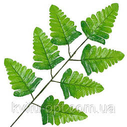 Лист штучного папороті зелений 40см(20 шт. в уп)