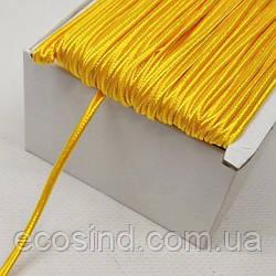 Темно-желтый шнур сутажный плоский 3мм, моток 46м. (657-Л-657-Л-0812)