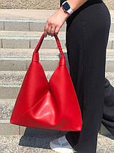 Велика жіноча сумка-мішок червоного кольору на одне плече жіноча червона сумка-шоппер