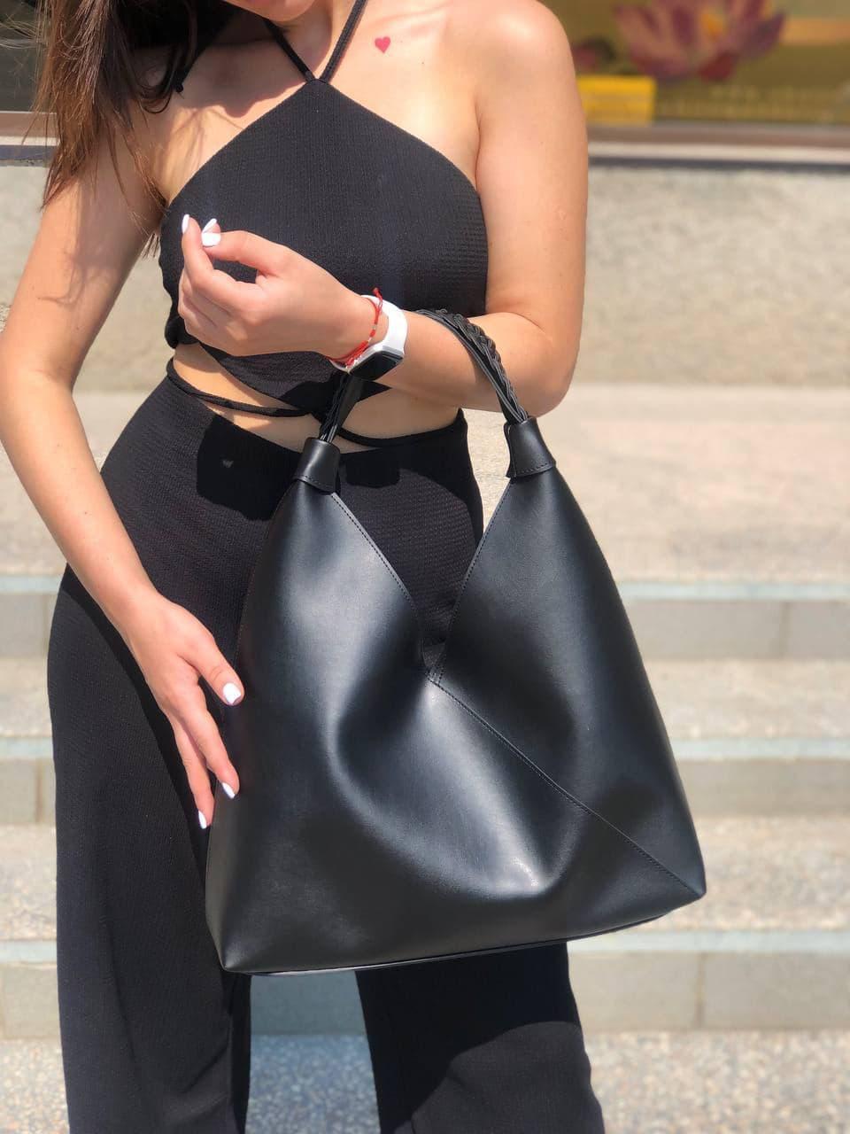 Жіноча чорна велика сумка-мішок трапеція на одне плече крута добротна сумка-шоппер чорна