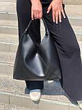 Жіноча чорна велика сумка-мішок трапеція на одне плече крута добротна сумка-шоппер чорна, фото 2