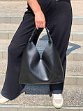 Жіноча чорна велика сумка-мішок трапеція на одне плече крута добротна сумка-шоппер чорна, фото 3